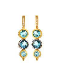 Freida Rothman | Multicolor Two-tone Pave Aqua Crystal Drop Earrings | Lyst