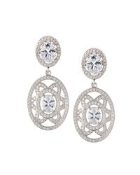Fantasia by Deserio | Multicolor Elaborate Floral-motif Oval Cz Crystal Double-drop Earrings | Lyst