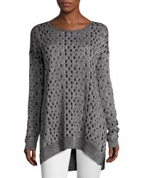 Joan Vass - Black Leopard-jacquard High-low Sweater - Lyst