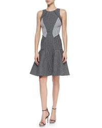 Zac Posen - Black Printed Colorblocked Fit & Flare Dress - Lyst