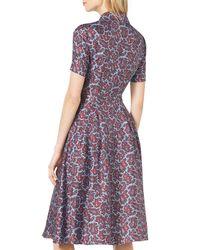Michael Kors - Purple Paisley-print Silk Shirtdress - Lyst