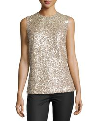 Kaufman Franco - Multicolor Sleeveless Gravel Paillettes Top - Lyst