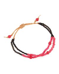Panacea - Red Braided Two-row Crystal Cord Bracelet - Lyst