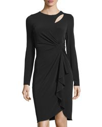 Catherine Malandrino - Black Long-sleeve Cutout Faux-wrap Dress - Lyst