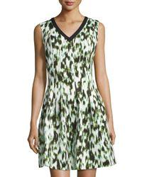 Marc New York | Green Sleeveless V-neck Fit-&-flare Dress | Lyst