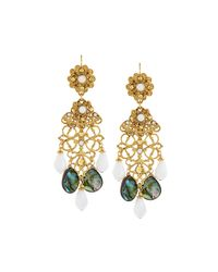 Jose & Maria Barrera | Metallic Golden Abalone & Crystal Drop Earrings | Lyst