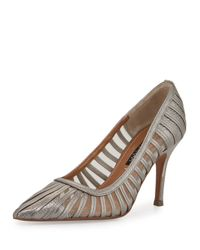 Kay Unger | Multicolor Preena Strappy Leather/mesh Pump | Lyst