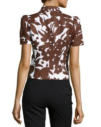 Michael Kors | Black Silk-blend Printed Jacket | Lyst