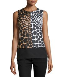 Michael Kors - Black Sleeveless Colorblock Croc-print Shell - Lyst