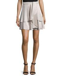 Halston - Multicolor Flowy Layered-hem Skirt - Lyst