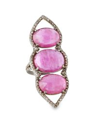 Bavna | Multicolor Triple Composite Ruby & Diamond Cocktail Ring | Lyst
