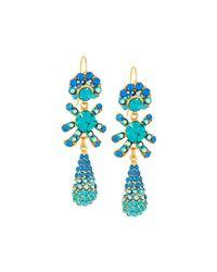 Jose & Maria Barrera | Blue Golden Pave Crystal Triple-drop Earrings | Lyst