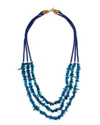 Panacea | Blue Long Howlite & Shell Beaded Triple-strand Necklace. Turquoise/multi | Lyst