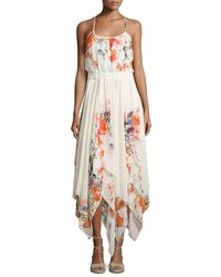 Bishop + Young Multicolor Floral-print Handkerchief-hem Dress