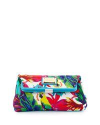 Love Moschino - Blue Jungle-print Canvas Clutch Bag - Lyst