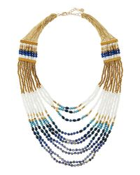 Nakamol | Blue Long Multi-strand Beaded Statement Necklace | Lyst