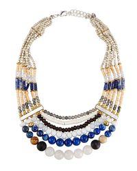 Nakamol | Blue Multi-strand Beaded Collar Necklace | Lyst
