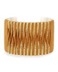 Nakamol | Metallic Leather & Chain Wrapped Cuff Bracelet | Lyst