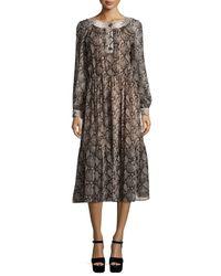 Michael Kors   Multicolor Long-sleeve Python-print Peasant Dress   Lyst