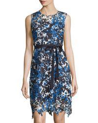 T Tahari | Blue Lincoln Sleeveless Lace Dress W/tie | Lyst