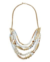 Lydell NYC - Metallic Multi-strand Beaded Statement Necklace - Lyst