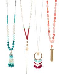 Lydell NYC - Multicolor Beaded Agate Tassel Necklace - Lyst