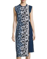 Alberto Makali | Blue Sleeveless Printed Side-tie Dress | Lyst