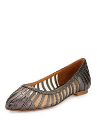 Kay Unger - Multicolor Kallie Mesh-inset Leather Flat - Lyst