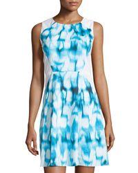 Tahari - White Tie-dye Sheath Dress - Lyst