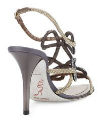 Rene Caovilla - Gray Crystal Looped 100mm Sandal - Lyst
