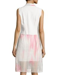 T Tahari - Pink Sleeveless Dip-dye Eyelet Dress - Lyst