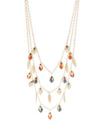 Fragments - Metallic Layered Howlite-beaded Triple-strand Necklace - Lyst