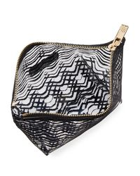 Neiman Marcus - Black Squiggle-stripe Clear Pouch Bag - Lyst
