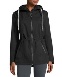 Laundry by Shelli Segal | Black Hooded Zip-front Performance Jacket | Lyst
