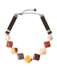 Nakamol - Brown Jasper & Leather Square Beaded Choker Necklace - Lyst