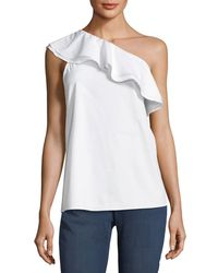 Vince Camuto | White Ruffled One-shoulder Top | Lyst