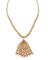 Lydell NYC | Metallic Long Textured Golden Beaded Tassel Necklace | Lyst