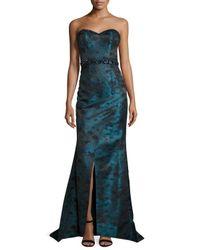 Pamella Roland Green Jacquard Strapless Mermaid Gown
