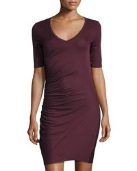 Three Dots | Purple V-neck Side-ruched Dress | Lyst