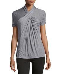 Halston - Gray Short-sleeve Crisscross Top - Lyst