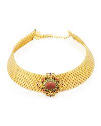 Jose & Maria Barrera | Metallic Mesh Choker Necklace W/ Multi-stone Ornament | Lyst
