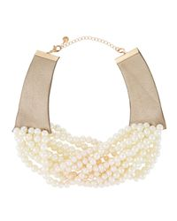 Lydell NYC | White Multi-strand Pearlescent-beaded Torsade Choker Necklace | Lyst