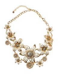 Lydell NYC - Metallic Golden Crystal & Pearly Flower Statement Bib Necklace - Lyst