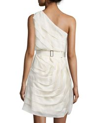 Halston - Multicolor One-shoulder Ruffled Cocktail Dress - Lyst