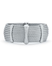Alor | Multicolor 10-row Cable Cuff Bracelet W/ Pave Diamond Stations | Lyst