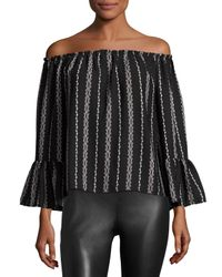 On The Road | Black Off-the-shoulder Stripe-print Top | Lyst