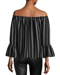 On The Road - Black Off-the-shoulder Stripe-print Top - Lyst
