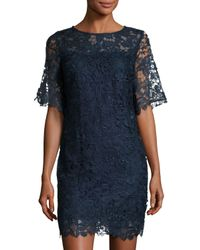 Julia Jordan | Blue Half-sleeve Lace-overlay Sheath Dress | Lyst