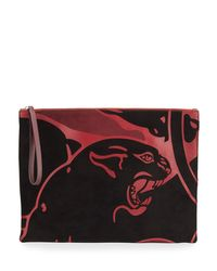 Valentino | Red Cougar Leather Clutch Bag | Lyst
