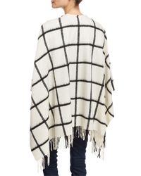 Neiman Marcus - White Wool Grid-print Ruana Wrap - Lyst